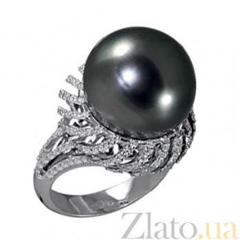 Золотое кольцо с черным жемчугом и бриллиантами Лунная ночь KBL--К1800/бел/жем
