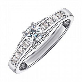 Кольцо из белого золота с фианитами 000128057