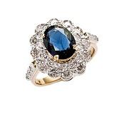 Золотое кольцо с сапфиром и бриллиантами Донателла