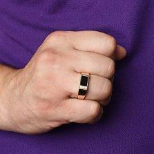 Золотое кольцо-печатка Гор с ониксом и фианитами