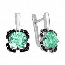 Серебряные серьги Ноэль с зеленым кварцем и черными фианитами