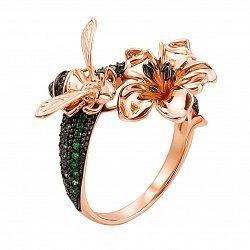Золотое кольцо Пчелка и цветок в комбинированном цвете с зелеными и черными фианитами