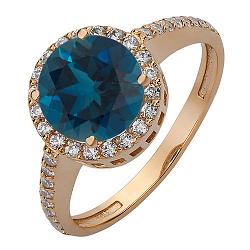 Кольцо из красного золота с синтезированным лондон топазом и фианитами 000034780