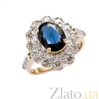 Золотое кольцо с сапфиром и бриллиантами Донателла ZMX--RS-6283_K