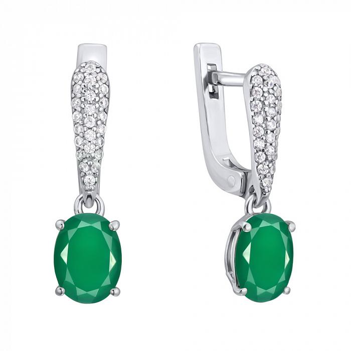 Серебряные серьги-подвески Бриджит с зелеными агатами и фианитами 000064425