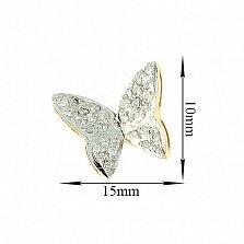 Золотые серьги с бриллиантами Бабочки в желтом цвете