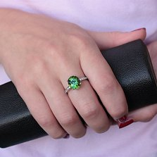 Золотое кольцо Норвис в белом цвете с турмалином и бриллиантами