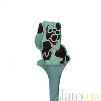 Серебряная детская чайная ложка с эмалью Собачка ZMX--1285_1120