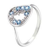 Золотое кольцо Карен в белом цвете с разноцветными фианитами