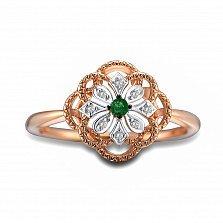 Кольцо из красного золота Иванна с бриллиантами и изумрудом