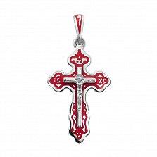 Серебряный крест Святое сияние с красной эмалью