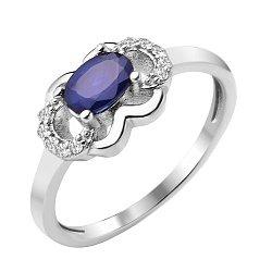 Серебряное кольцо Вайолет с сапфиром и фианитами