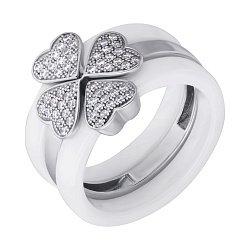 Тройное наборное кольцо  из белой керамики и серебра с фианитами 000126909