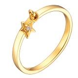 Кольцо в желтом золоте Свет звезды с фианитом