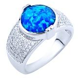 Серебряное кольцо Раджни с голубым опалом и фианитами