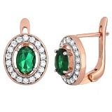 Позолоченные серебряные серьги с зелеными фианитами Вистилия