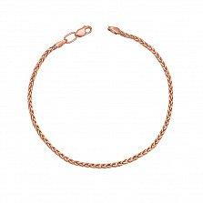 Золотой браслет Заккия в красном цвете плетения колосок
