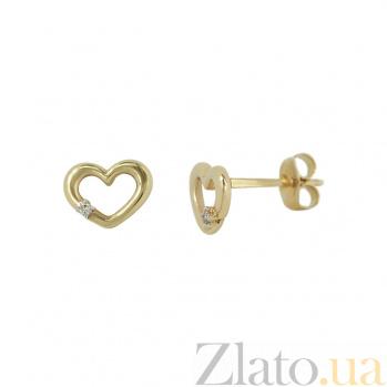 Золотые пуссеты с бриллиантами Сердечки 1С191-0033