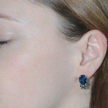 Серебряные серьги Анжелика с синим и зелёным цирконием