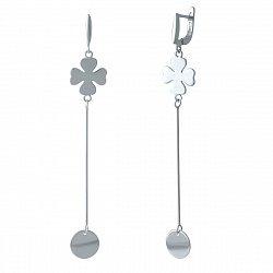 Серебряные серьги-подвески Мэджик с цепочкой, клевером и диском