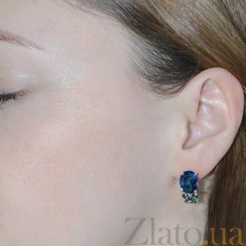 Серебряные серьги Анжелика с синим и зелёным цирконием Анжелика с/син-зел