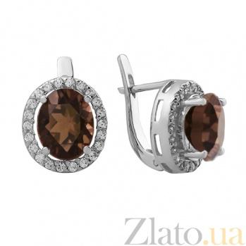 Серебряные серьги Эйвис с дымчатым кварцем и фианитами 000032463