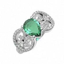 Серебряное кольцо Эмили с зеленым кварцем и фианитами