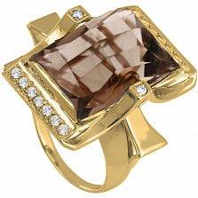 Золотое кольцо с раухтопазом и фианитами Сан-Франциско
