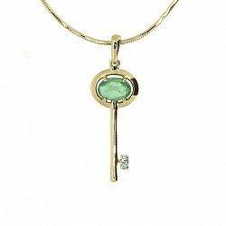 Золотой подвес с изумрудом и бриллиантом Ключик от сердца 000019067