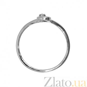 Золотое кольцо в белом цвете с бриллиантом Кристел 000021414