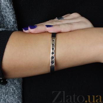 Каучуковый браслет с серебряными вставками Исмена 000027267
