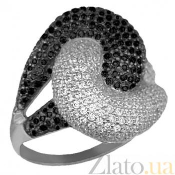 Кольцо из белого золота Нереида с черными и белыми фианитами VLT--ТТ1024-3