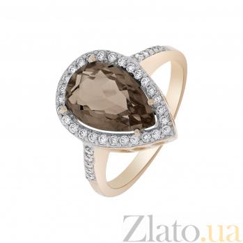 Кольцо в красном золоте Каролина с раухтопазом и фианитами SVA--119043510101