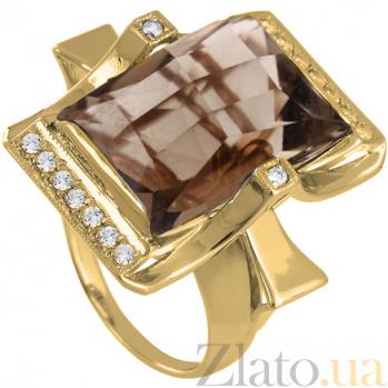 Золотое кольцо с раухтопазом и фианитами Сан-Франциско 000024445