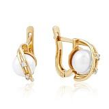 Золотые серьги с жемчугом и фианитами Клеменс