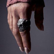 Кольцо-череп из серебра Wooden с чернением