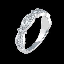 Золотое кольцо Только с тобой в белом цвете с узорными дорожками бриллиантов