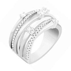 Серебряное кольцо Эржебет с фианитами