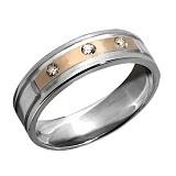 Серебряное кольцо с золотой вставкой и фианитами Романтика