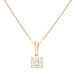 Колье в красном золоте Леона с бриллиантом