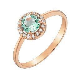 Золотое кольцо Ксения с хризопразом и фианитами 000032087