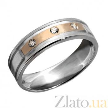 Серебряное кольцо с золотой вставкой и фианитами Романтика BGS--276к