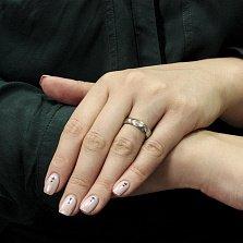 Серебряное кольцо Слияние с цирконием