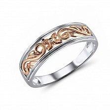 Обручальное кольцо Мишель из красного и белого золота с бриллиантом