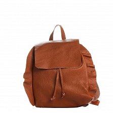Кожаный рюкзак Genuine Leather 8804 коньячного цвета на кулиске, с клапаном и декоративными оборками