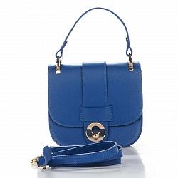 Кожаный клатч Genuine Leather 1528 синего цвета с короткой ручкой и клапаном на магните 000092278