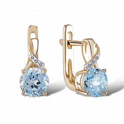 Серьги из желтого золота Анна с бриллиантами и голубыми топазами
