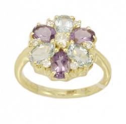 Золотое кольцо Гортензия с аметистами, топазами и фианитами