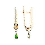 Золотые серьги с изумрудами и бриллиантами Лесная фея