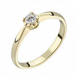 Помолвочное кольцо из желтого золота с бриллиантом, 0,09ct 000034686